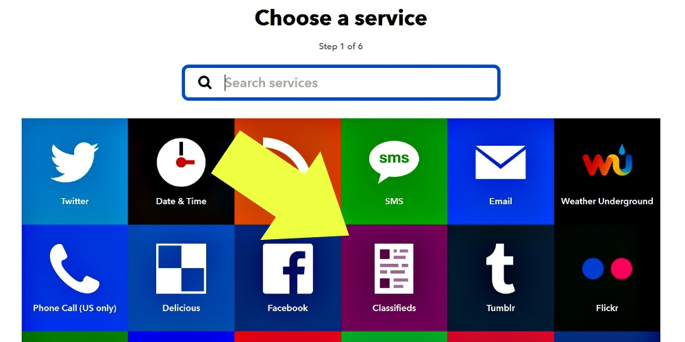 ifttt choose a service